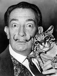 Salvador Dali with a cat