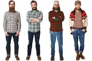 four guys with full facial hair and flannel shirt
