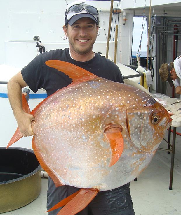 Southwest Fisheries Science Center biologist Nick Wegner holds captured opah. NOAA FISHERIES, SOUTHWEST FISHERIES SCIENCE CENTER