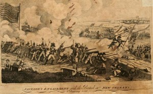 Drawing of the battle from The battle of New Orleans, or Glory, love and loyalty; an historical and national drama, in five acts published 1816.