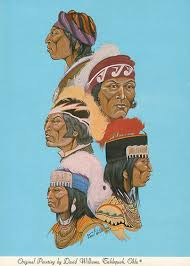 Five Civilized Tribes Painting Postcard  The 5 civilized tribes that were moved to Indian Territory (Oklahoma) in the early 1800s. From top to bottom: Cherokee, Choctaw, Chickasaw, Seminole, Creek.   Original painting by David Williams, Tahlequah, Oklahoma.